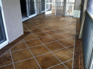 Decorative Concrete Condo Deck Osage Beach MO Acid Stained Faux Tile Flooring Lake Ozark MO