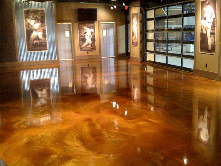 Custom Stained Concrete Floors : Metallic marble